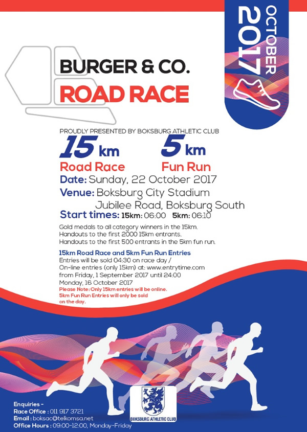 Burger & Co Road Race 15km, 5km @ Boksburg City Stadium | Boksburg | Gauteng | South Africa