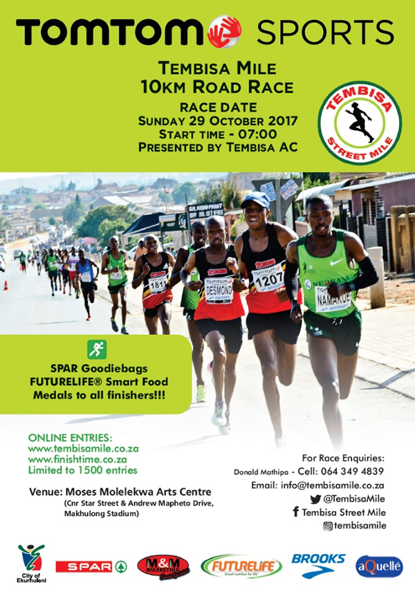 TomTom Sports Tembisa Mile 10km @ Moses Molelekwa Arts Centre, Makhulong Stadium