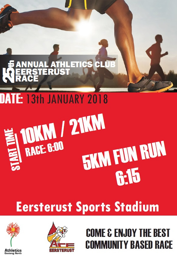 ACE 21km, 10km, 5km @ Eersterust Sports Stadium