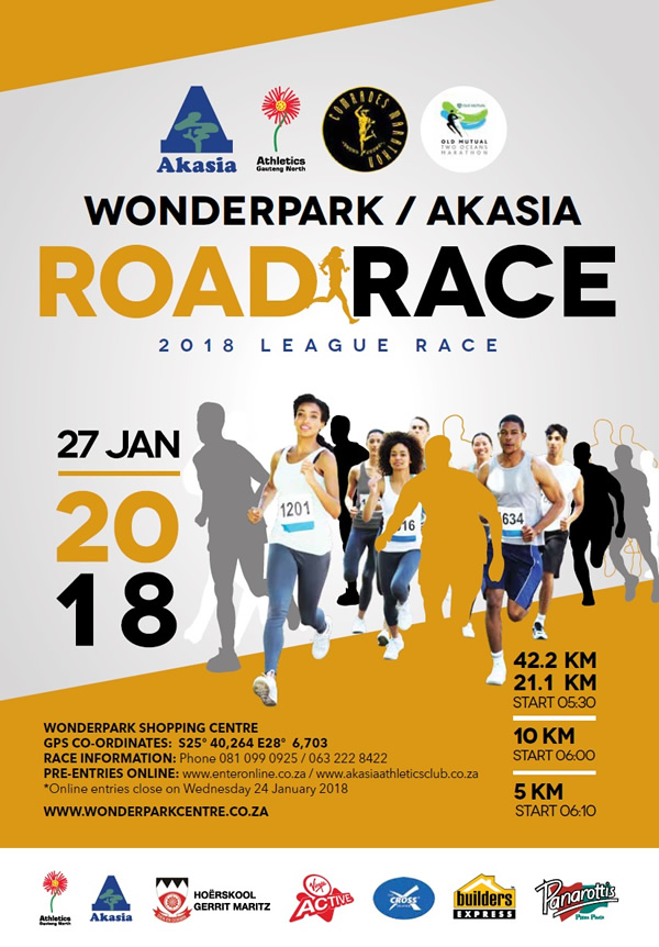 Wonderpark / Akasia Road Race 42km, 21km, 10km, 5km @ Wonderpark Shopping Centre